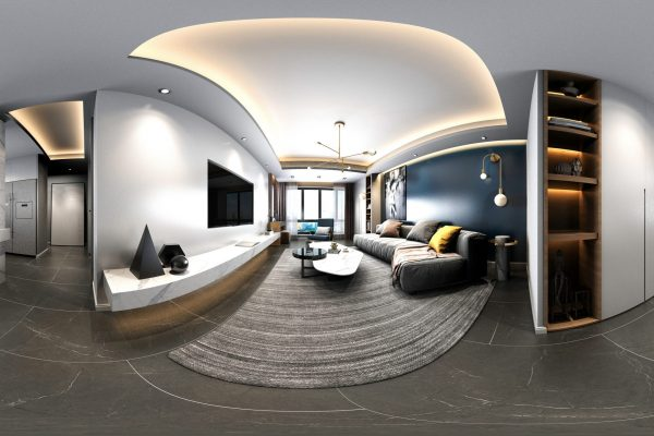 3d render of 360 degrees Virtual Reality Home interior